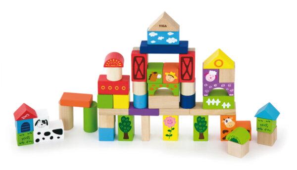 Строителни цветни блокчета 50 бр - Фермата  от Viga toys