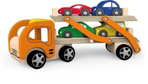 Дървен камион автовоз с четири коли,  Viga toys