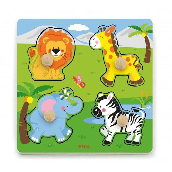 Пъзел с дръжки - диви животни, Viga toys