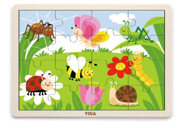 Дървен пъзел 16 елемента - Насекоми, Viga toys