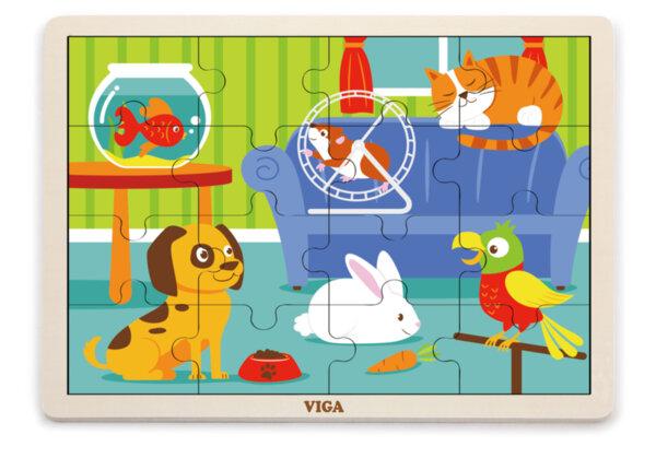 Дървен пъзел 16 елемента - домашни животни, Viga toys