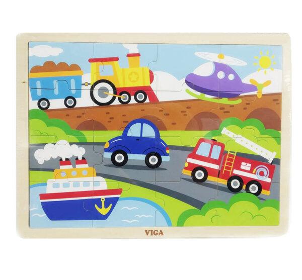 Дървен пъзел 16 елемента - превозни средства, Viga toys
