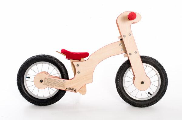 """Дървено колело за баланс модел """" Голямо Лили""""- червено"""