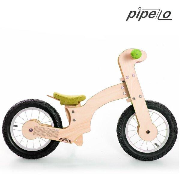 """Дървено колело за баланс модел """"Лили""""- зелено"""
