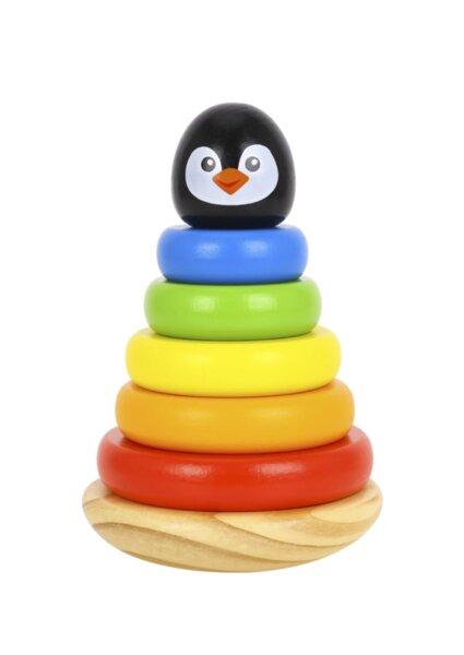 Дървена кула за нанизване - Пингвин, Tooky Toy
