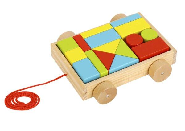 Малко ремарке за дърпане с дървени блокчета, Tooky Toy