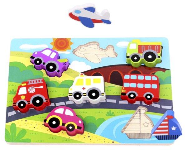 Дървен пъзел за вгнездяване - Транспорт, Tooky toy