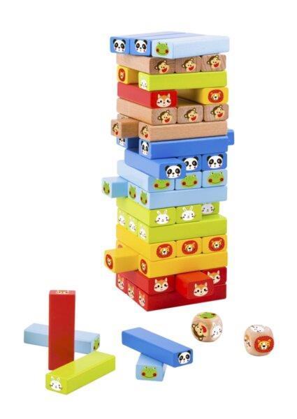 Дървена цветна дженга със зарче Животните, Tooky Toy