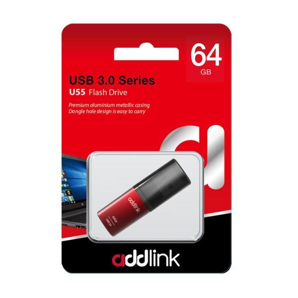 Addlink флашка Flash U55 64GB USB 3.0 Aluminium Red - ad64GBU55R3