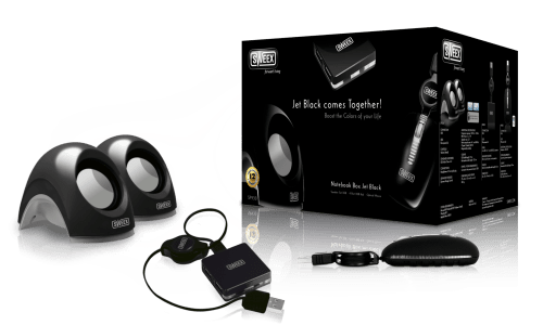SWEEX SP930 Комплект колони, USB хъб и мишка, Notebook Box Jet, черен цвят