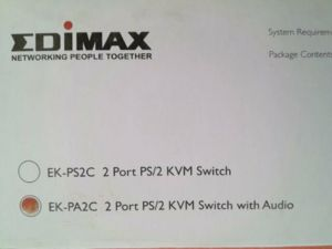 Edimax 2 Ports PS2 / Audio KVM Switch With Buliding 1.2M Cable - EK-PA2C