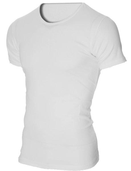 Мъжка бяла изчистена вталена тениска с обло деколте