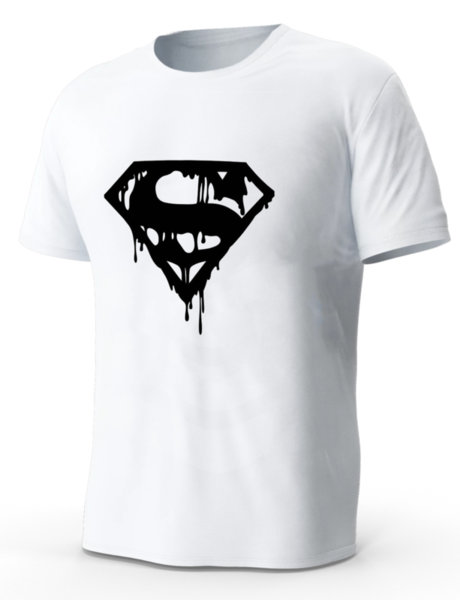 """Мъжка бяла тениска с щампа """"Разтапящ се супермен"""""""