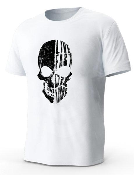 """Мъжка бяла тениска с щампа """"череп live fast die young"""""""