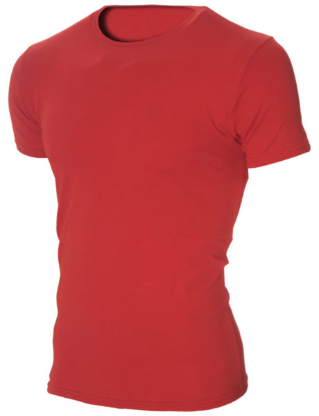 Мъжка червена изчистена вталена тениска с обло деколте
