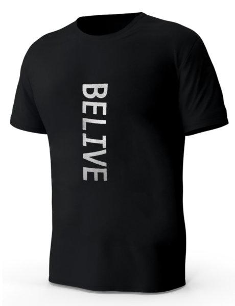 """Мъжка черна тениска с блестяща сребриста щампа """"Belive"""""""