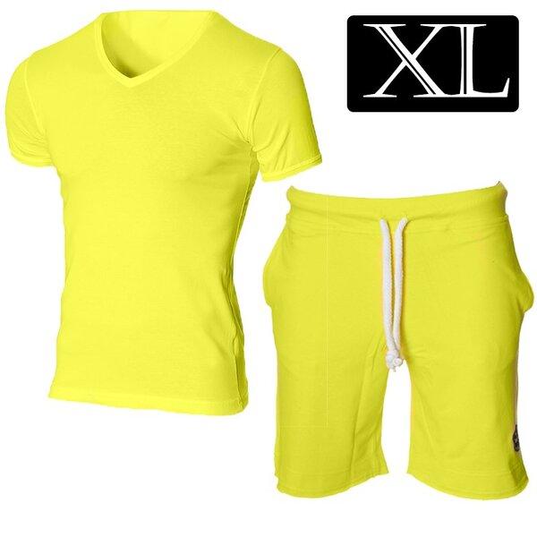 Мъжки жълт комплект с тениска и долнище