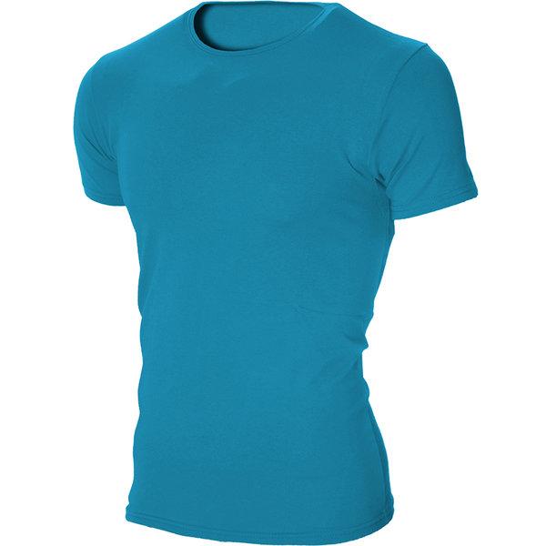 Мъжка светлосиня изчистена вталена тениска с обло деколте