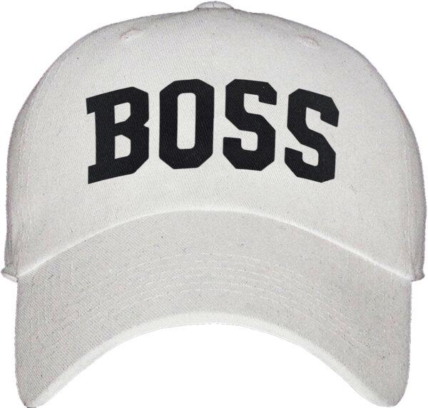 """Унисекс бяла шапка с козирка и щампа """"Boss"""""""