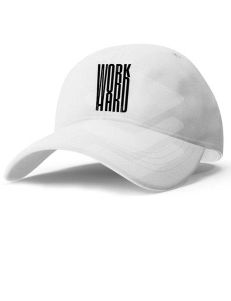 "Унисекс бяла шапка с козирка и щампа ""Work Hard"""