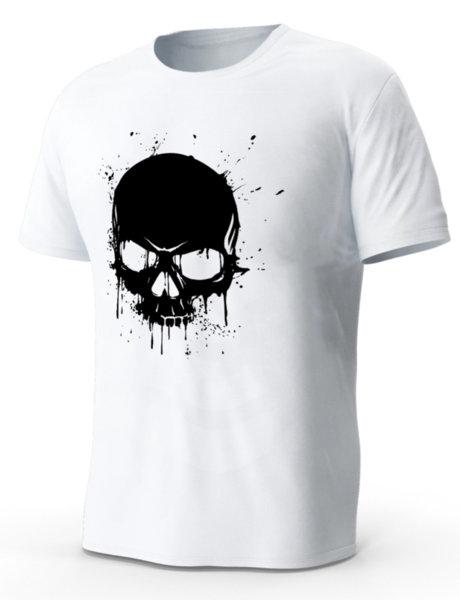 """Мъжка бяла тениска с щампа """"Skull"""""""