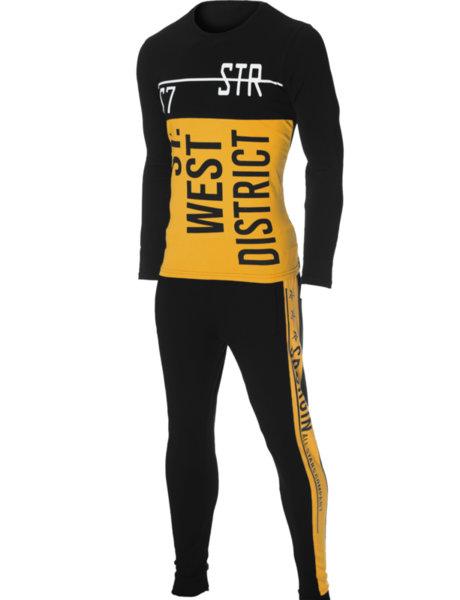 """Мъжки втален черно/жълт екип с щампа """"ST. WEST. DISTRICT"""""""
