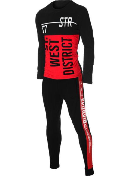 """Мъжки втален черно/червен екип с щампа """"ST. WEST. DISTRICT"""""""