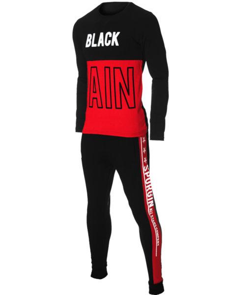 """Мъжки втален черно/червен екип с щампа """"BLACK PAIN"""""""