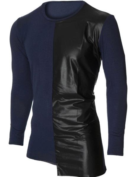Мъжка тъмносиня блуза с обло деколте и кожа