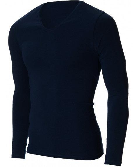 Мъжка тъмносиня изчистена блуза с V деколте