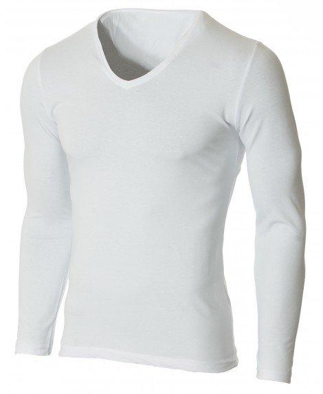 Мъжка бяла изчистена блуза с V деколте