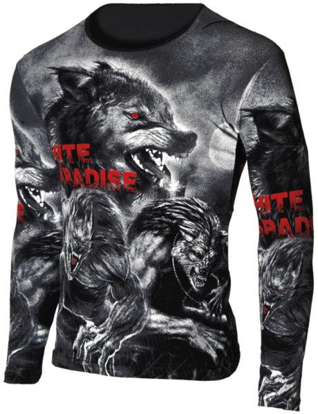 """Мъжка черна блуза с обло деколте и щампа """"Wolf"""""""
