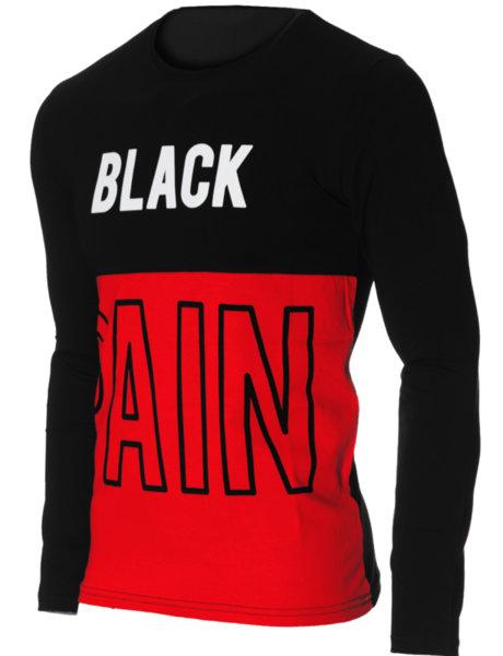 """Мъжка червено/черна блуза с обло деколте и щампа """"Black pain"""""""