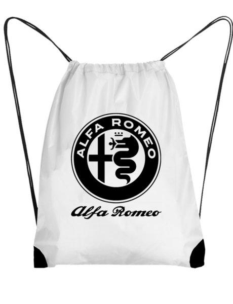"Унисекс бяла раница тип мешка с щампа ""Alfa Romeo"""