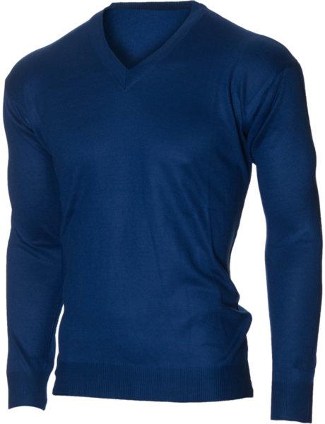 Мъжки син пуловер с V деколте (Универсален размер)
