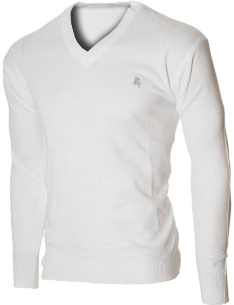 Мъжки бял пуловер с V деколте (Универсален размер)