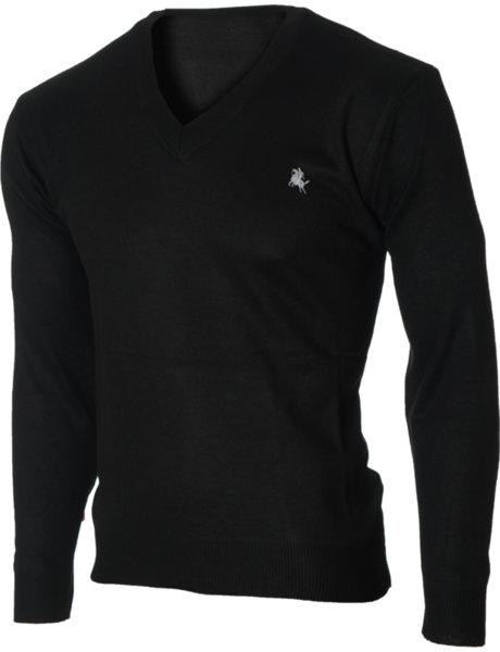 Мъжки черен пуловер с V деколте (Универсален размер)