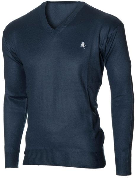 Мъжки тъмносин пуловер с V деколте (Универсален размер)