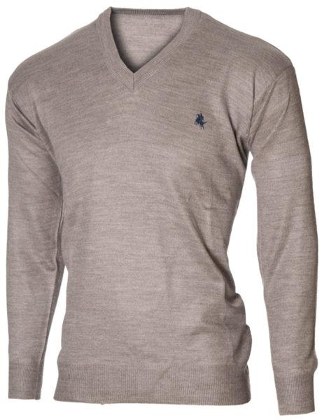 Мъжки бежов пуловер с V деколте (Универсален размер)
