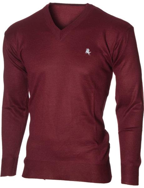 Мъжки бордо пуловер с V деколте (Универсален размер)