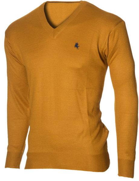 Мъжки горчица пуловер с V деколте (Универсален размер)