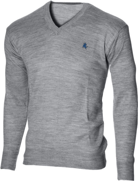 Мъжки светлосив пуловер с V деколте (Универсален размер)