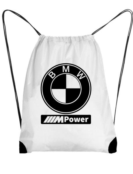 "Унисекс бяла раница тип мешка с щампа ""BMW"""