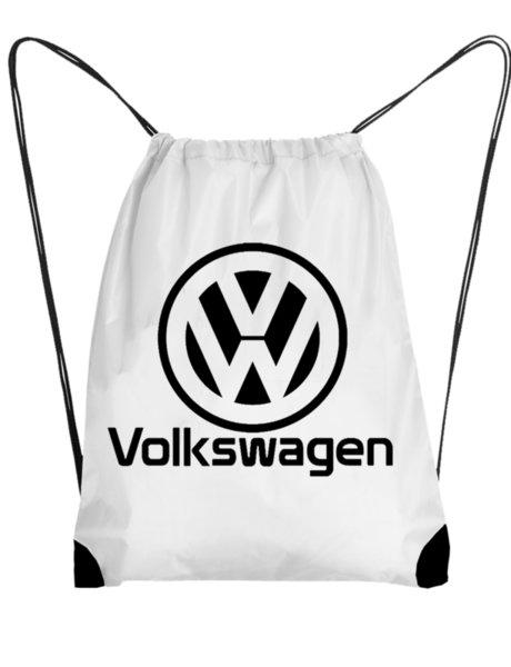 """Унисекс бяла раница тип мешка с щампа """"Volkswagen"""""""