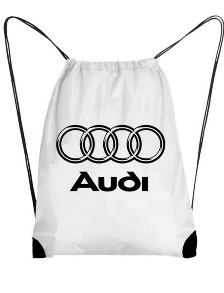 "Унисекс бяла раница тип мешка с щампа ""Audi"""