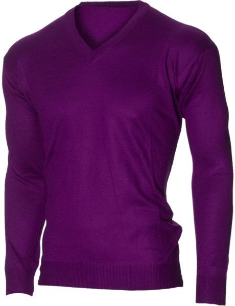 Мъжки лилав пуловер с V деколте (Универсален размер)