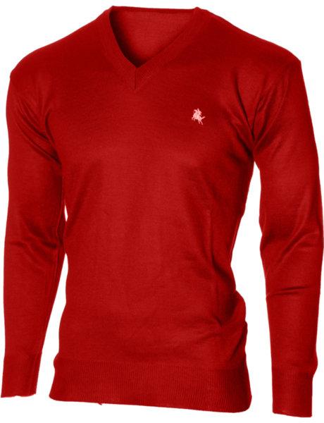 Мъжки червен пуловер с V деколте (Универсален размер)
