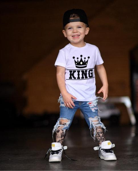 """Унисекс детска бяла тениска с щампа """"KING"""""""