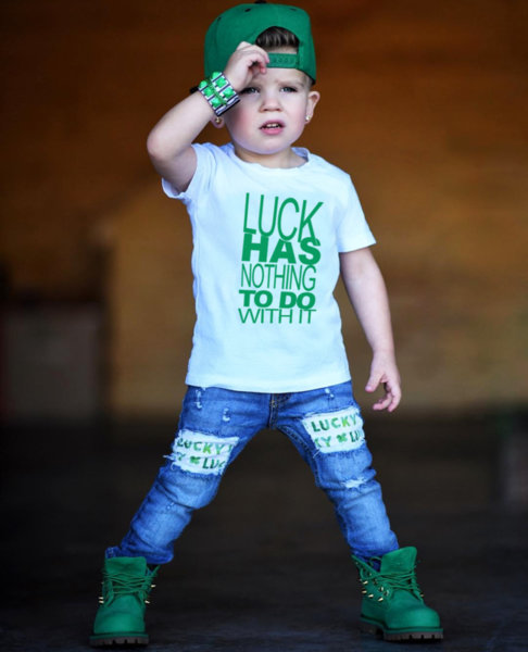 "Унисекс детска бяла тениска с щампа ""Luck"""