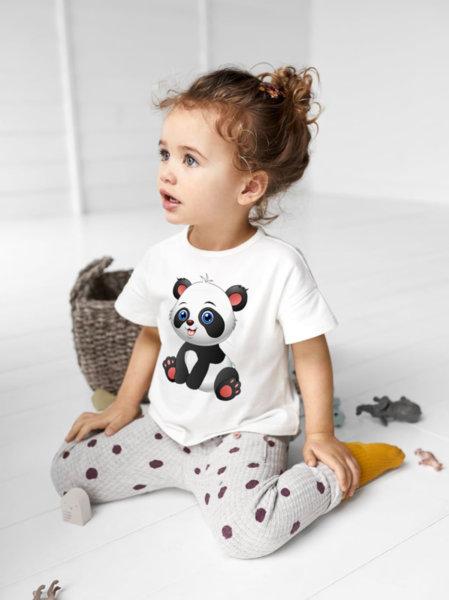 """Унисекс детска бяла тениска с щампа """"Panda"""""""